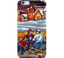 BEST HOCKEY ART OUTDOOR HOCKEY GAME BOYS PLAYING HOCKEY iPhone Case/Skin