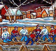 BEST HOCKEY ART OUTDOOR HOCKEY GAME BOYS PLAYING HOCKEY by Carole  Spandau