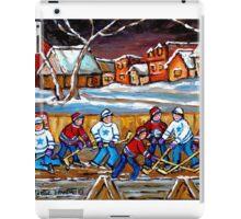 BEST HOCKEY ART OUTDOOR HOCKEY GAME BOYS PLAYING HOCKEY iPad Case/Skin