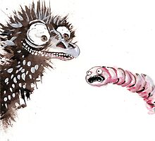 Emu and worm2 by Tristan Klein