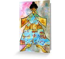 Kimono GRRRRL...mixed media Greeting Card