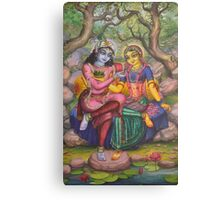 Radha and Krishna on Govardhan Canvas Print