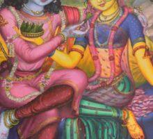 Radha and Krishna on Govardhan Sticker