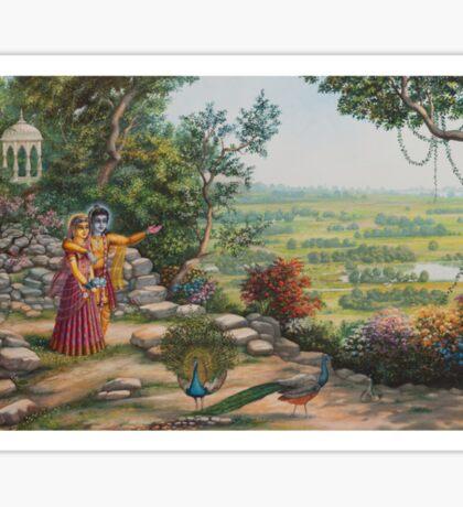 Radha and Krishna on Govardhan hill Sticker