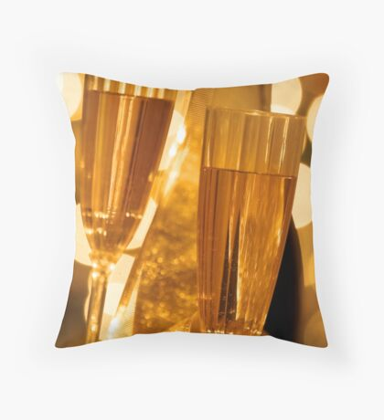 Two champagne glasses Throw Pillow