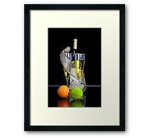 Two champagne glasses and bottle Framed Print