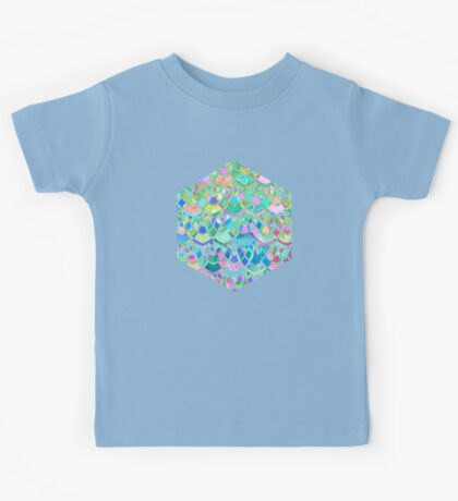 Art Deco Watercolor Patchwork Pattern 1 Kids Tee