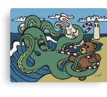Teddy Bear And Bunny - Epic Battle Canvas Print