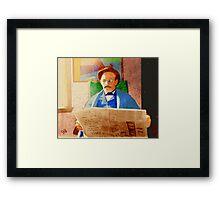 Man Reading Newspaper Framed Print