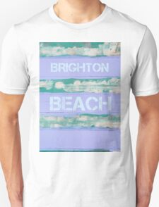 BRIGHTON BEACH written on vintage painted wooden wall T-Shirt