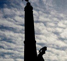 Aberystwyth War memorial silhouetted by buttonpresser