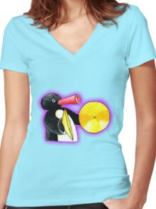 pingu and his music Women's Fitted V-Neck T-Shirt