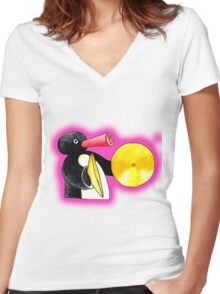 pink pingu Women's Fitted V-Neck T-Shirt