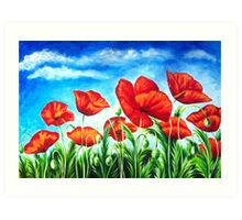 Blue Sky Poppies Art Print