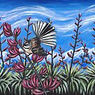Fantail in the Flax by Ira Mitchell-Kirk