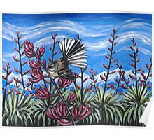 Fantail in the Flax Poster