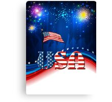 USA Patriotic Flag and Fireworks Canvas Print