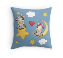 Cute calves in love Throw Pillow
