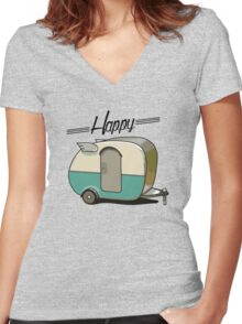 Happy camper Women's Fitted V-Neck T-Shirt