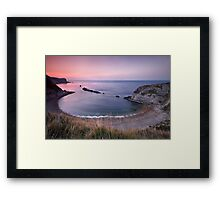 dawn over Man-o-War bay. Dorset Framed Print