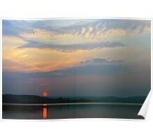 Hazy Sunset at Derwent Reservoir Poster
