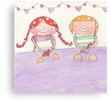February - Year of Sisters - Watercolor Canvas Print