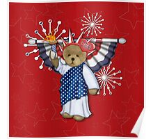 Patriotic Liberty Bear on Red Poster
