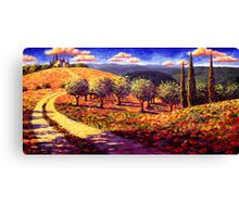Tuscany Olive Grove Road Home Canvas Print
