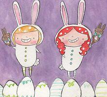 April - Year of Sisters - Watercolor by pigandpumpkin