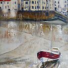 The Cod, Rose of England and Three White Vans, Staithes by Sue Nichol