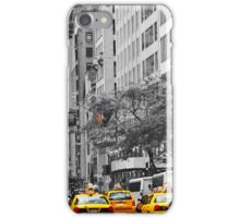 yellow cabs on 5th Ave with Stars and Stripes  iPhone Case/Skin