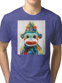Sock Monkey Art - Your New Best Friend - By Sharon Cummings Tri-blend T-Shirt