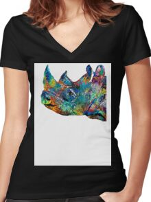 Rhino Rhinoceros Art - Looking Up - By Sharon Cummings Women's Fitted V-Neck T-Shirt
