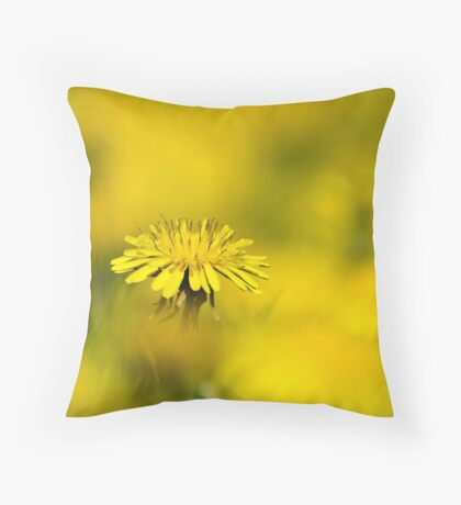 Yellow on Yellow Dandelion Art Throw Pillow
