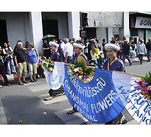 Thai Ladies Carrying Blue Banner. Photographic Print