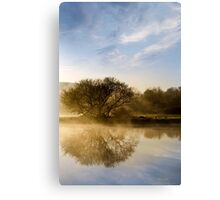 Misty River Sunrise Landscape Canvas Print
