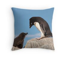 "Adelie Penguin and Chick ~ ""Well......if you say so dad"" Throw Pillow"