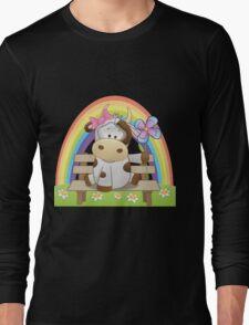 Lovely cow girl with rainbow Long Sleeve T-Shirt