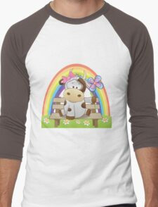 Lovely cow girl with rainbow Men's Baseball ¾ T-Shirt