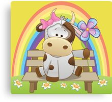 Lovely cow girl with rainbow Canvas Print