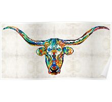 Colorful Longhorn Art By Sharon Cummings Poster