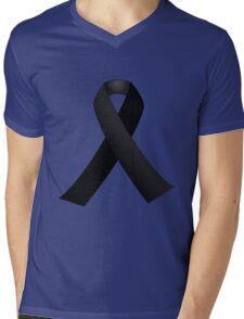 Black Ribbon Mens V-Neck T-Shirt