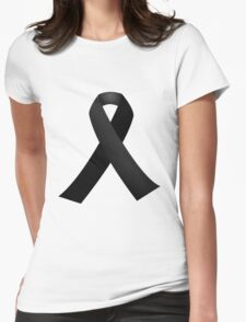 Black Ribbon Womens Fitted T-Shirt