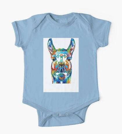 Colorful Llama Art - The Prince - By Sharon Cummings One Piece - Short Sleeve