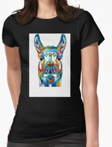 Colorful Llama Art - The Prince - By Sharon Cummings Womens Fitted T-Shirt