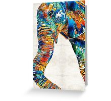 Colorful Elephant Art by Sharon Cummings Greeting Card