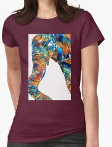 Colorful Elephant Art by Sharon Cummings Womens Fitted T-Shirt