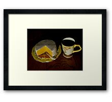 Having Coffee With Cheese And Crackers Framed Print