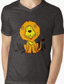 Cute Little Lion graphic drawing Mens V-Neck T-Shirt