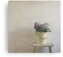 hydrangea resting on stool Canvas Print